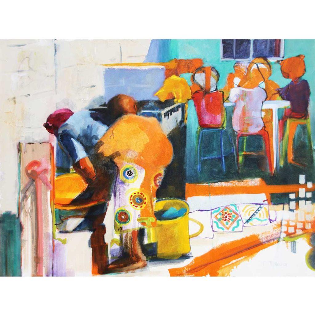 Claudia Treagus Washing Circle 2018 Oil on Canvas 87.5 x 66 cm