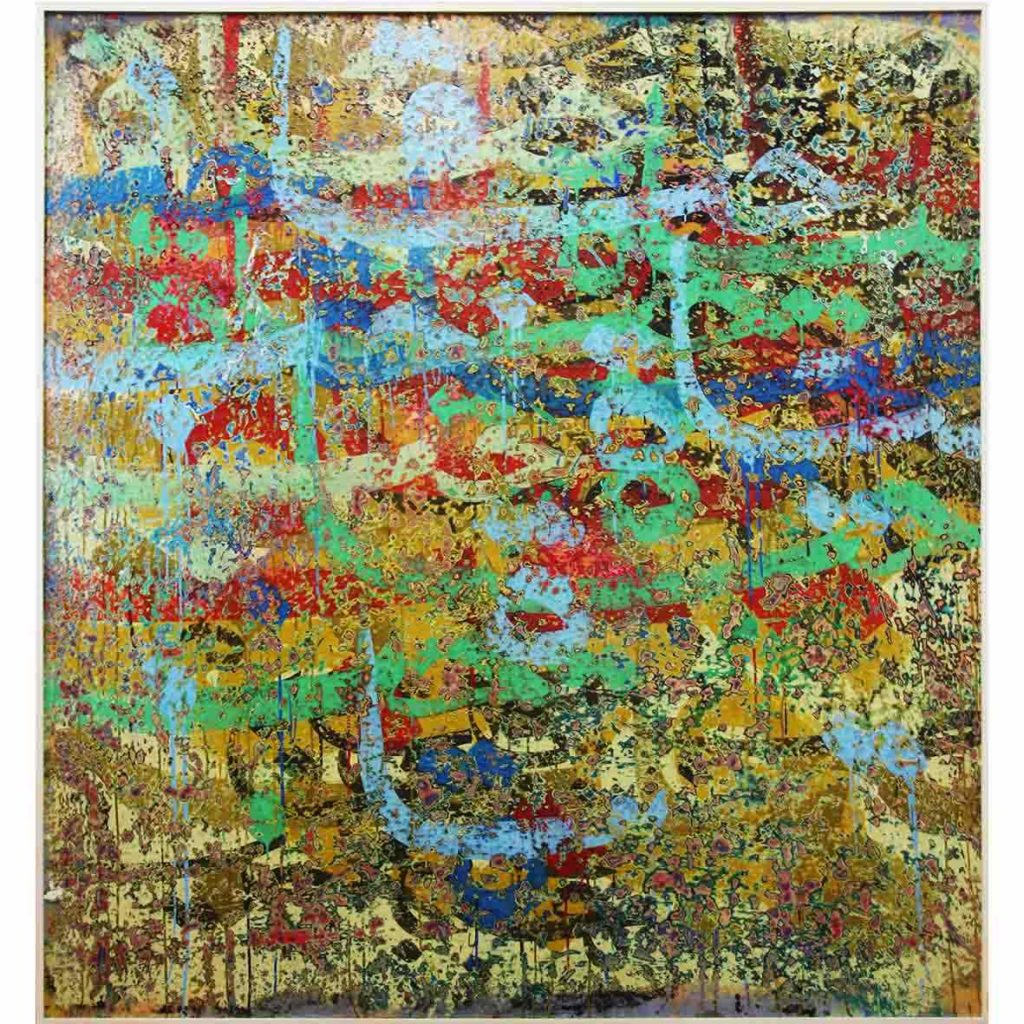 Ibrahim Khatab Untitled 2018 Mixed media on Board 144 x 152 cm