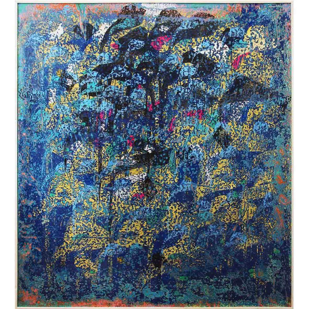 Ibrahim Khatab Untitled 2018 Mixed media on Board 146.5 x 162 cm