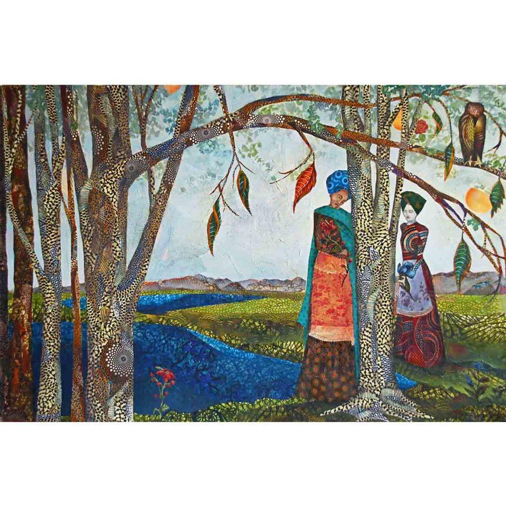 Kara Taylor, Bipartisan Ballad, 2018, Mixed media on canvas, 101 x 150 cm