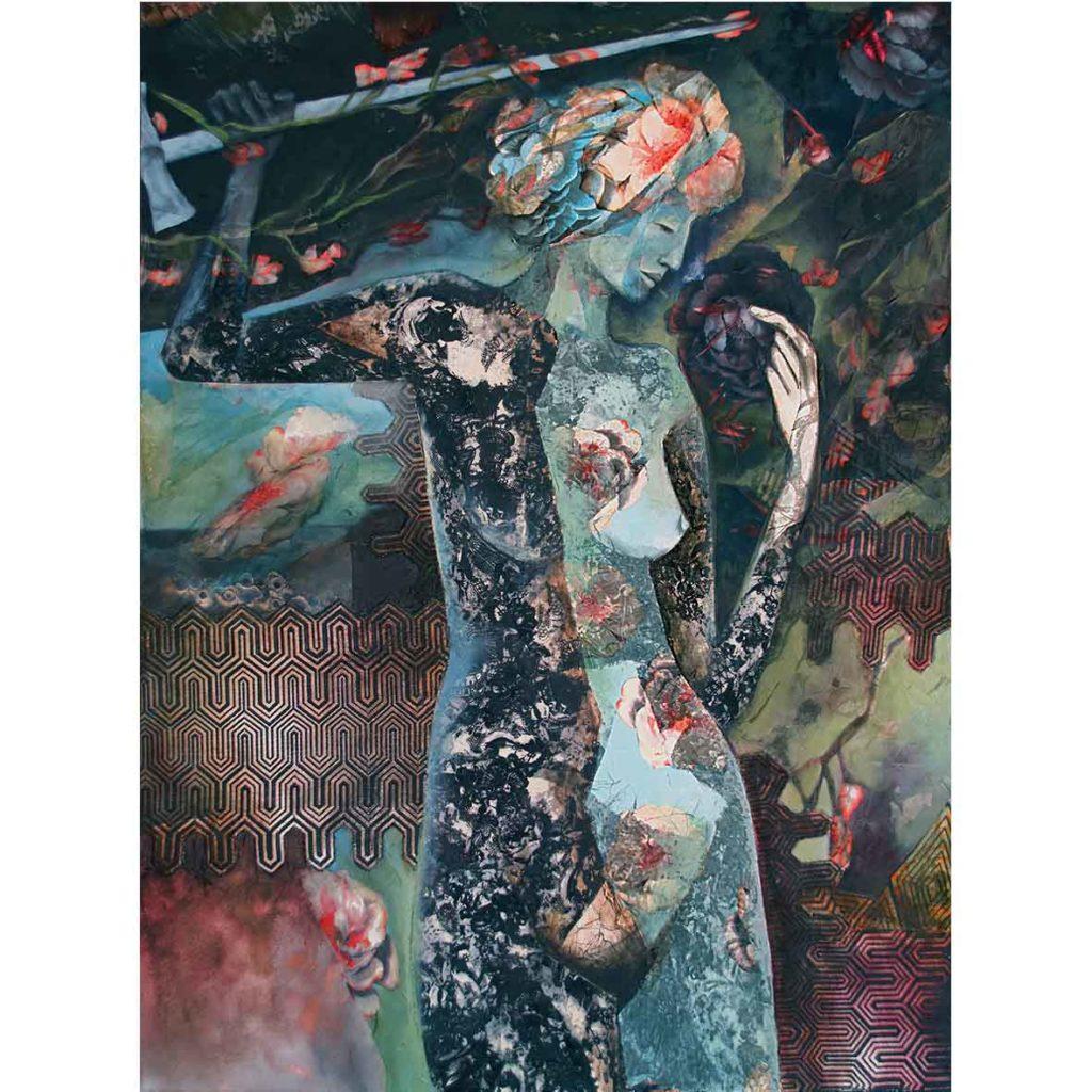 Kara Taylor, Black and Blue, 2018, Mixed media on Canvas,101 x 76 cm