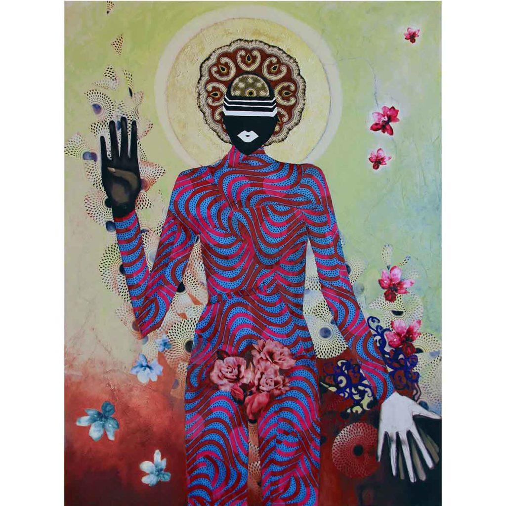 Kara Taylor, The Shape Shifter, 2018, mixed media on canvas, 101 x 76 cm