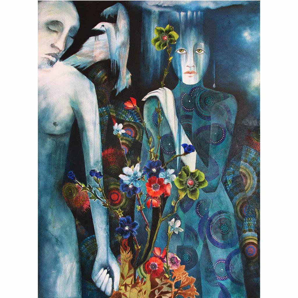 Kara Taylor,The Rain Makers, 2018, Mixed media on Canvas,101 x 76 cm