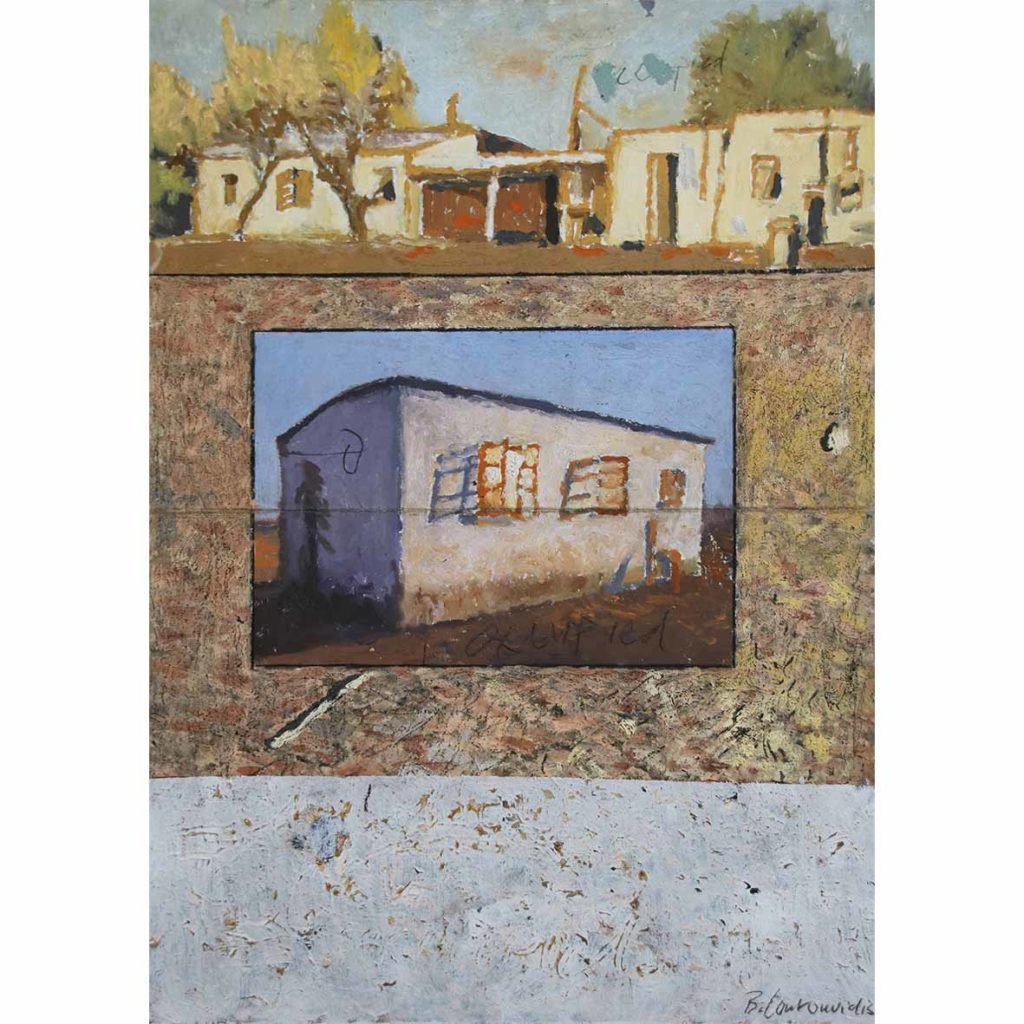 Ben Coutouvidis Henley on Klip, Pierneef Kalahari Home, Meyer Ground 2018 mixed media 32.3 x 44.8 cm
