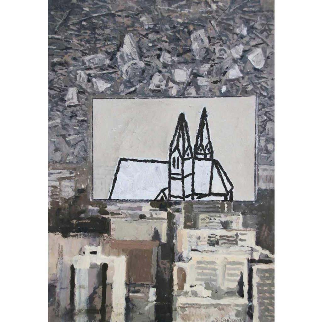 Ben Coutouvidis Norvalspont Ground Church, Luc Tuymans Inner City 2018 mixed media 32 x 45 cm