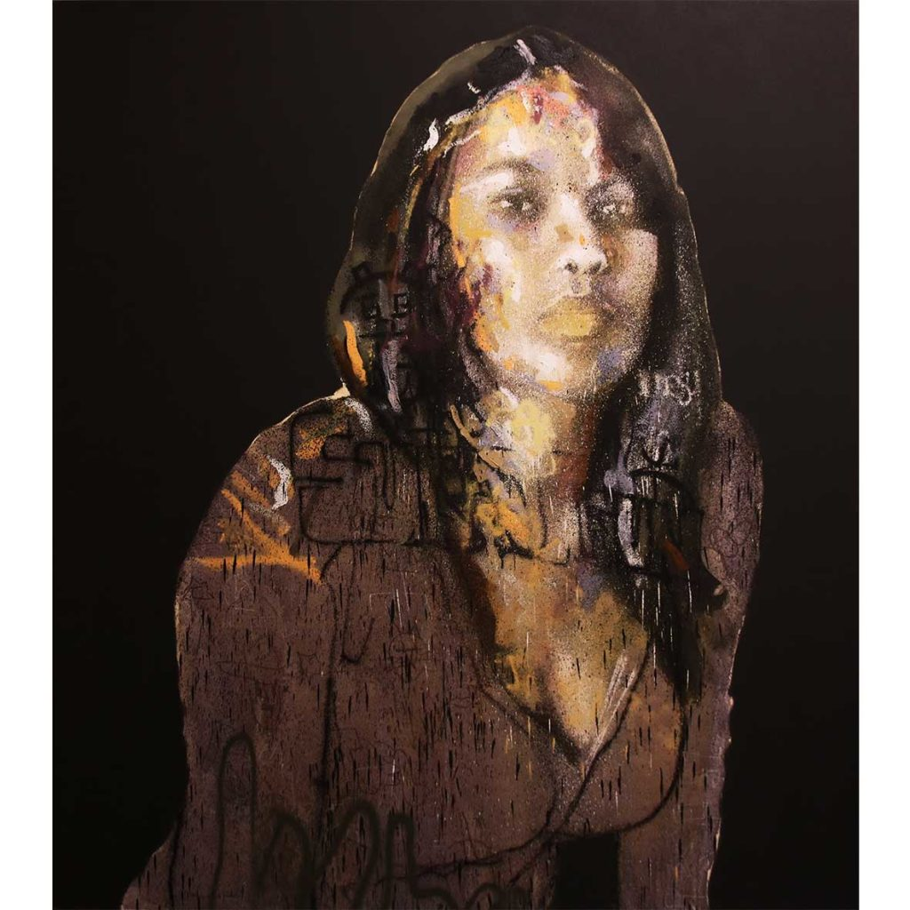 Dion Cupido Girl 2 Mixed media on Canvas 180 x 160 cm