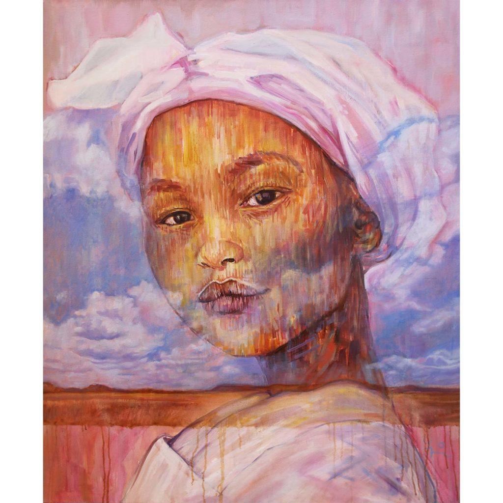 Gary Frier, Blue sky mine riel meisie 2018, oil on canvas, 76 x 91 cm