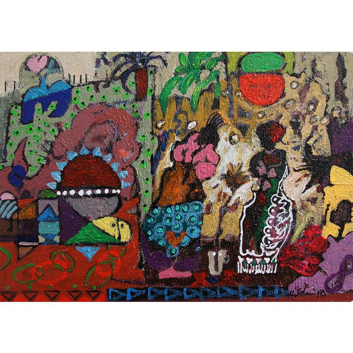 Hussein Salim Untitled (HS195) 2018 Acrylic on Canvas 19 x 27 cm