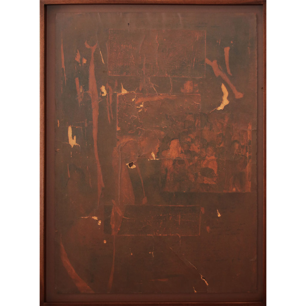 Joshua Williams Broken Record 182 Rust, Charcoal, Reproduced familial archive images on Fabriano rosaspina 70 x 100 (unframed)