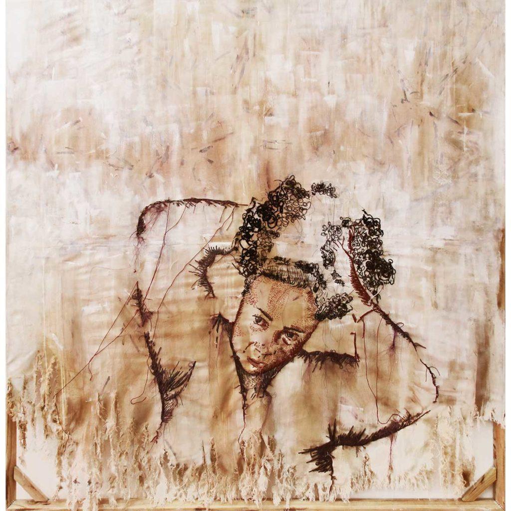 Kirsten Arendse, Rafel Uit, 2018, mixed media, 150 x 150 cm