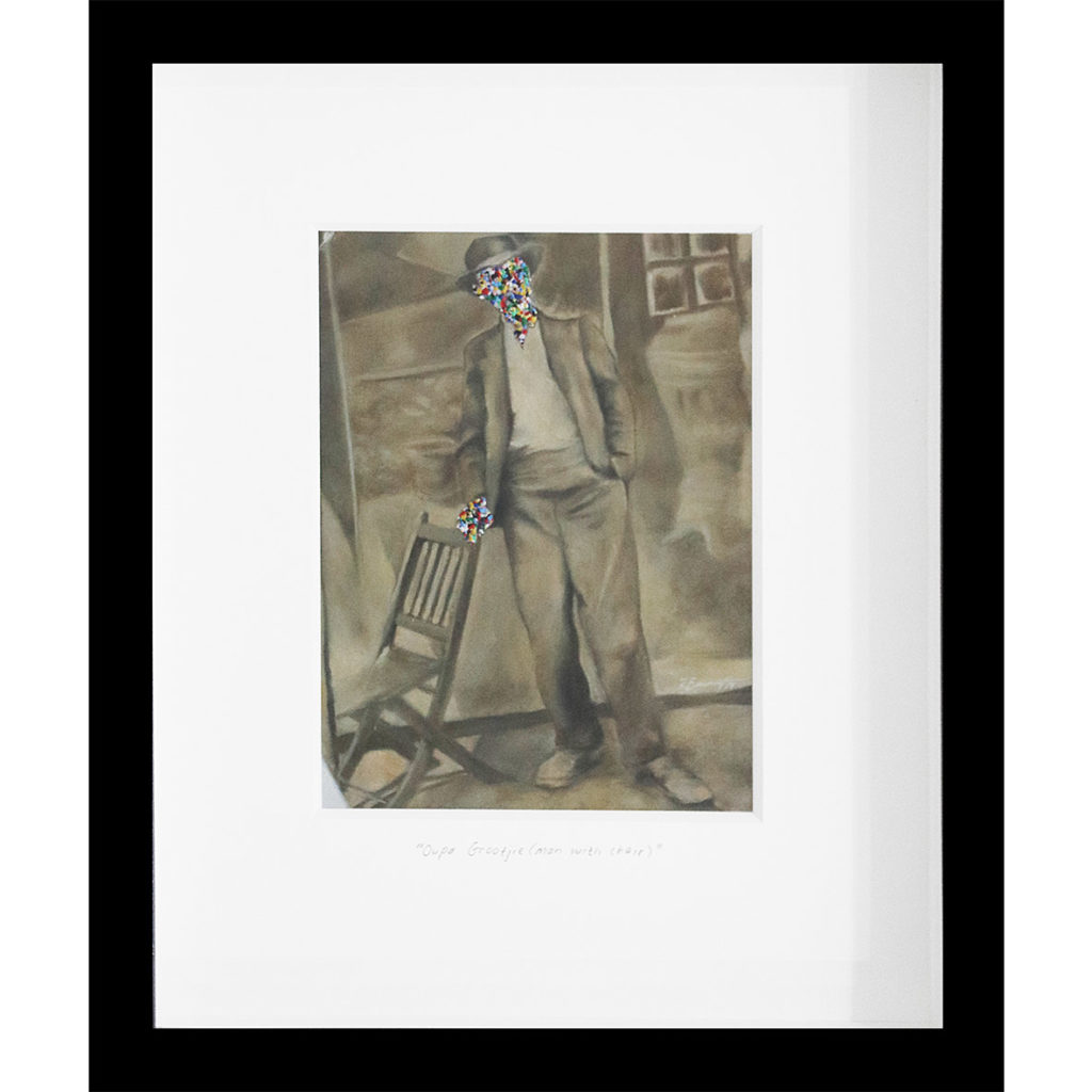 Rory Emmett Oupa Grootjie (man with chair) 2017 Oil on card 28.5 x 23.5 cm