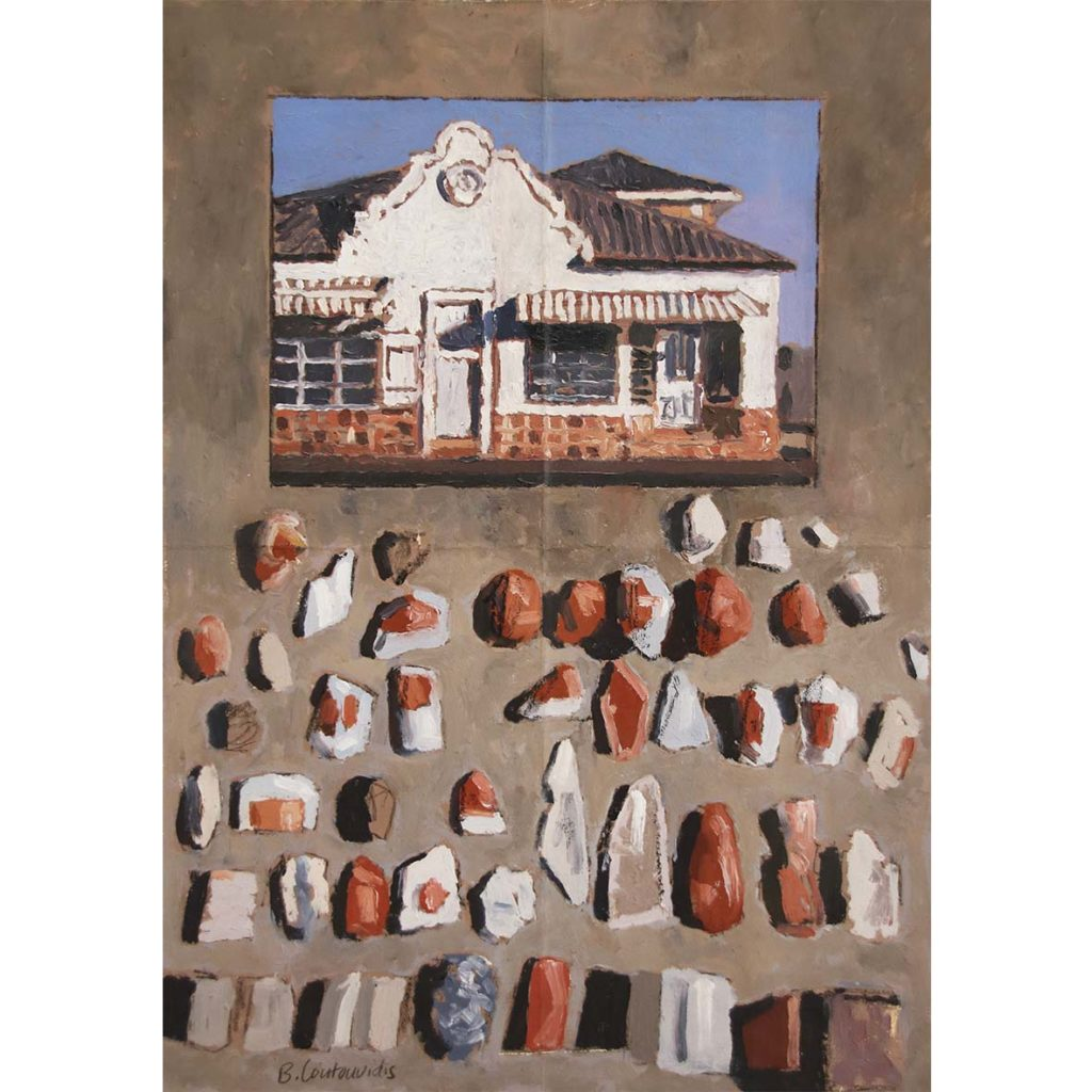 Ben Coutouvidis House in Hermanus, Kramer Building Aggregate, Kalk Bay 2018 mixed media 32.5 x 45 cm