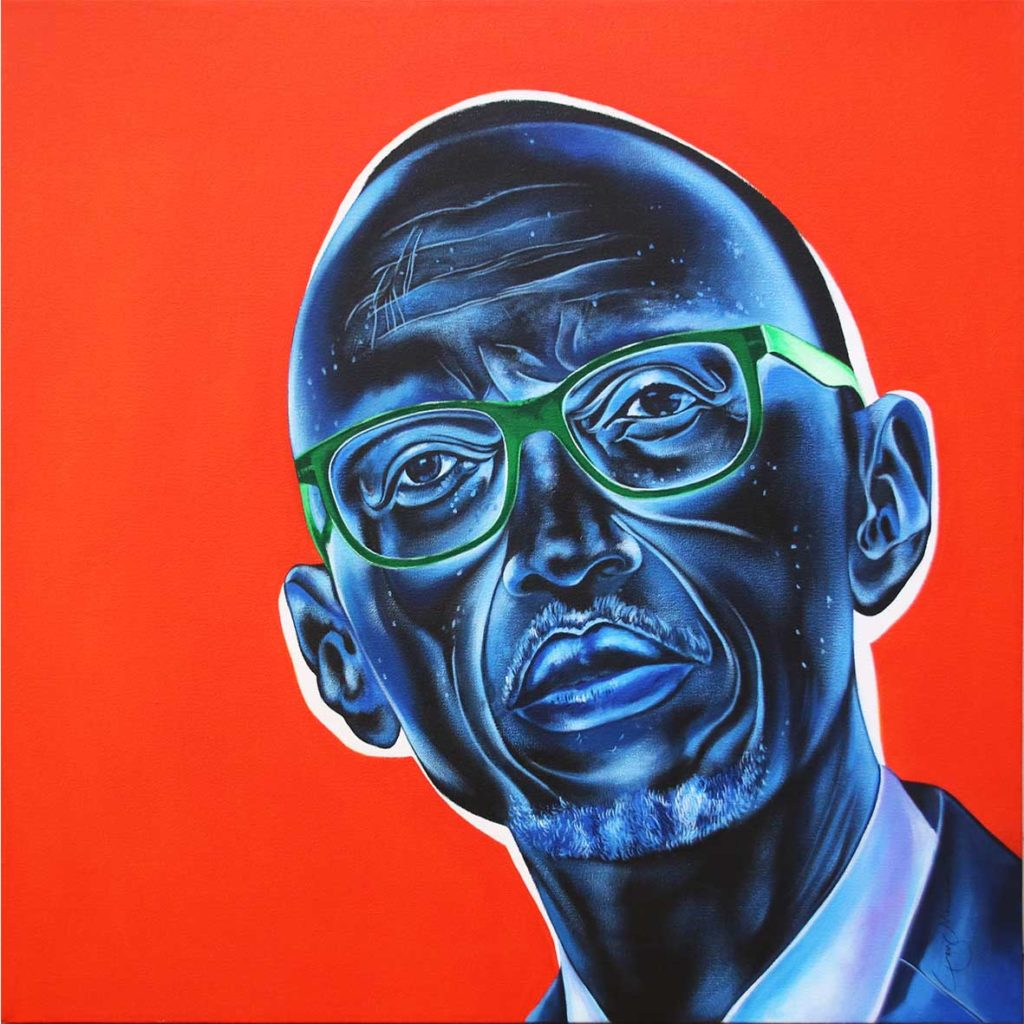 Ley Mboramwe Paul Kagame Green Glass 2018 Acrylic on Canvas 80 x 80 cm