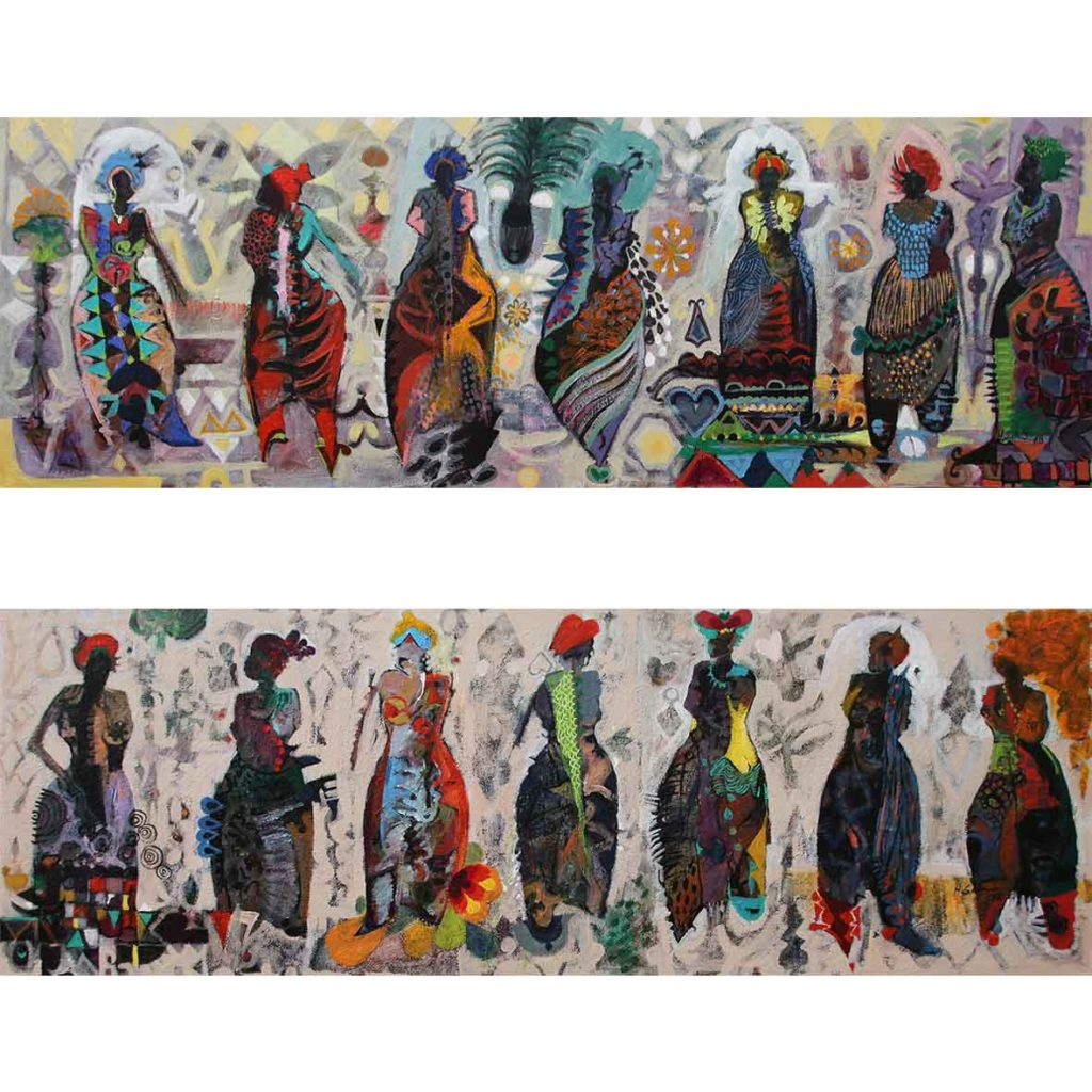 Hussein Salim .7. Goddesses of Love III & II 2018 acrylic on canvas 180 x 60 cm