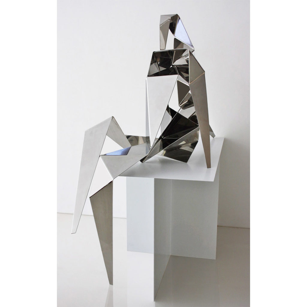 Anthony Lane SHARD SERIES - SEATED FIGURE Hand polished 316 Stainless Steel 166 x 158 x 70 cm