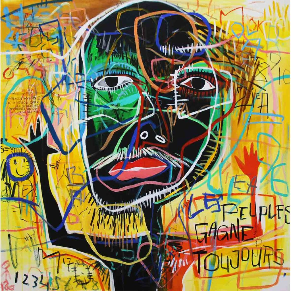Ley Mboramwe Le Peuple Gangne 2019 Acrylic on canvas 100 x 100 cm