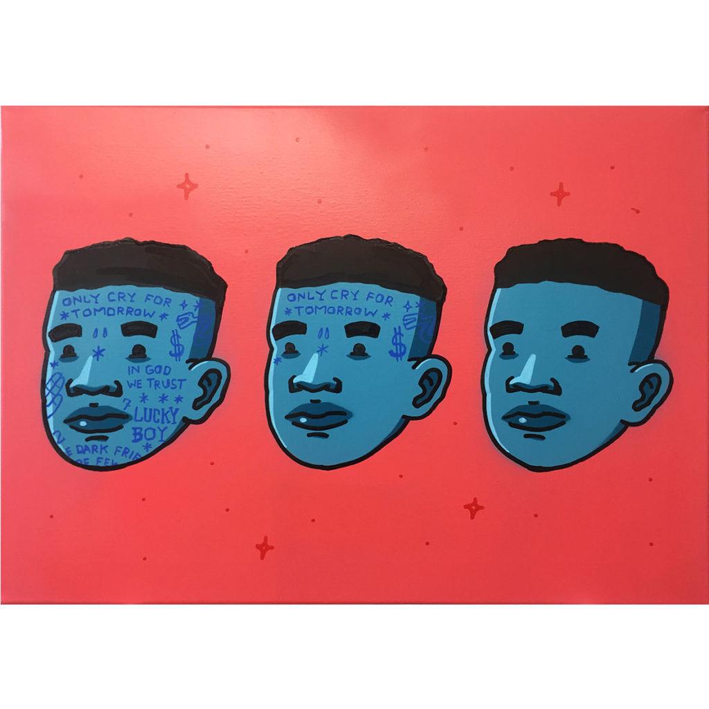 Bushy Wopp Perception Unmasked 2019 Spray paint & Acrylic on canvas A2