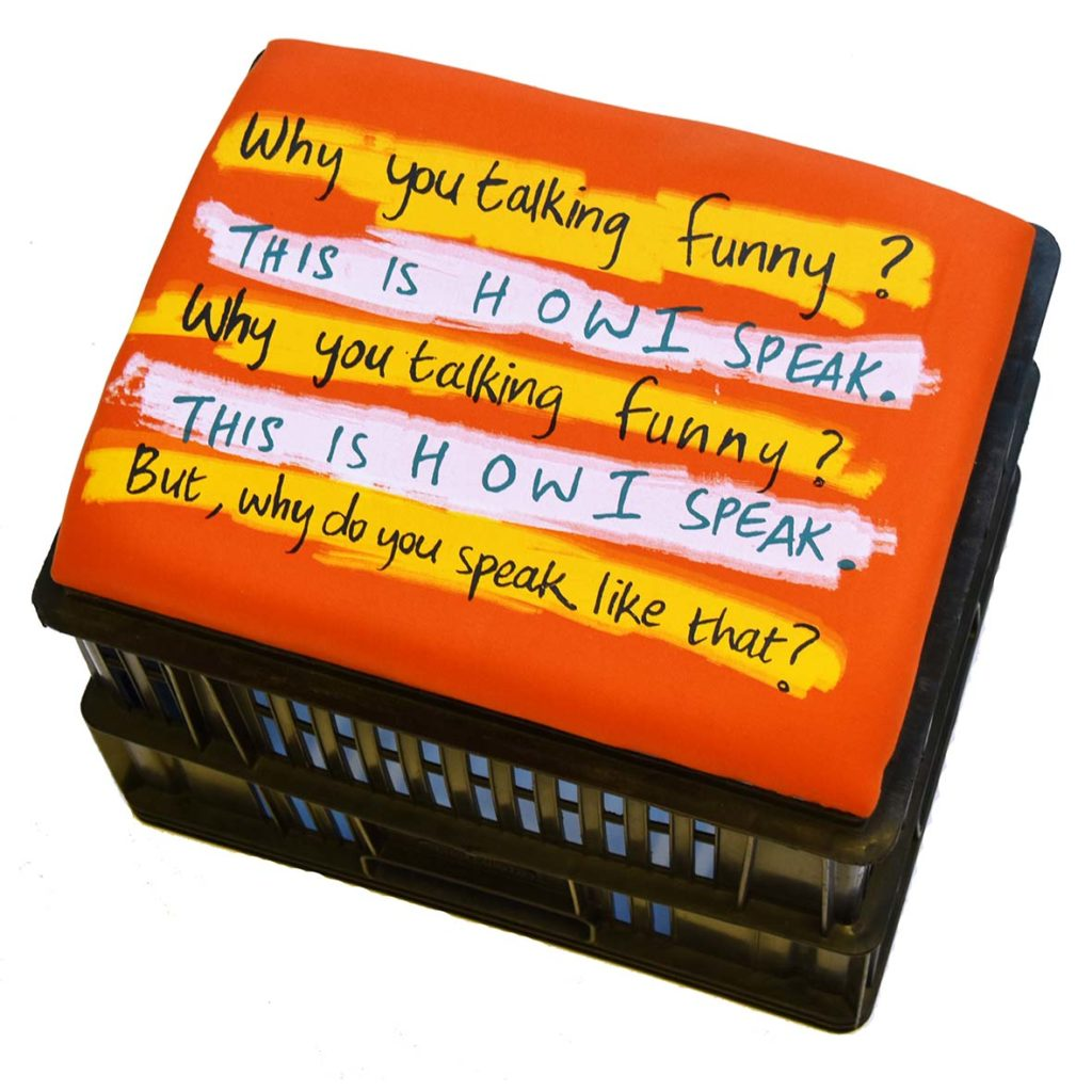 Chelsea Robin Ingham Why you talking funny 2017 Silkscreen print on fabric, wood, foam, crates (mixed media), limited edition Installation