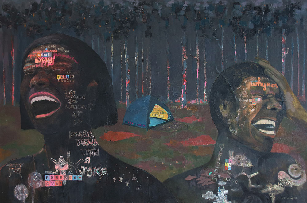 Dion Cupido, Huisie Huisie, 2019, Mixed media on Canvas, 100 x 150 cm