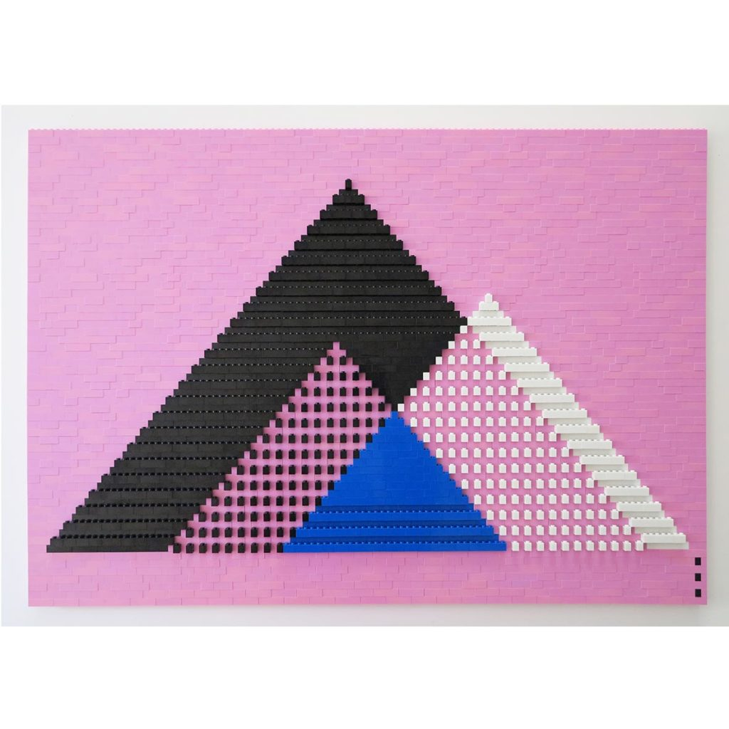 Faatimah Mohamed-Luke Pink Threesome 2018 2963 plastic blocks mounted to aluminium 60 x 86 cm