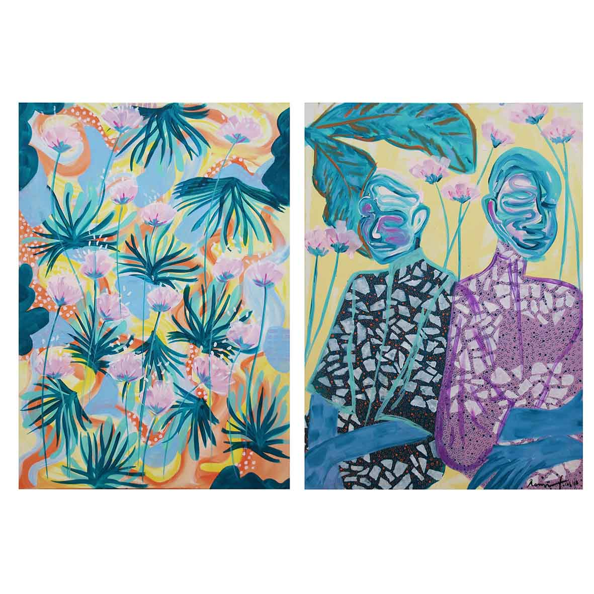 Romi Flowers Everything is Fine 2018 mixed media on canvas 118 x 84 cm (diptych)