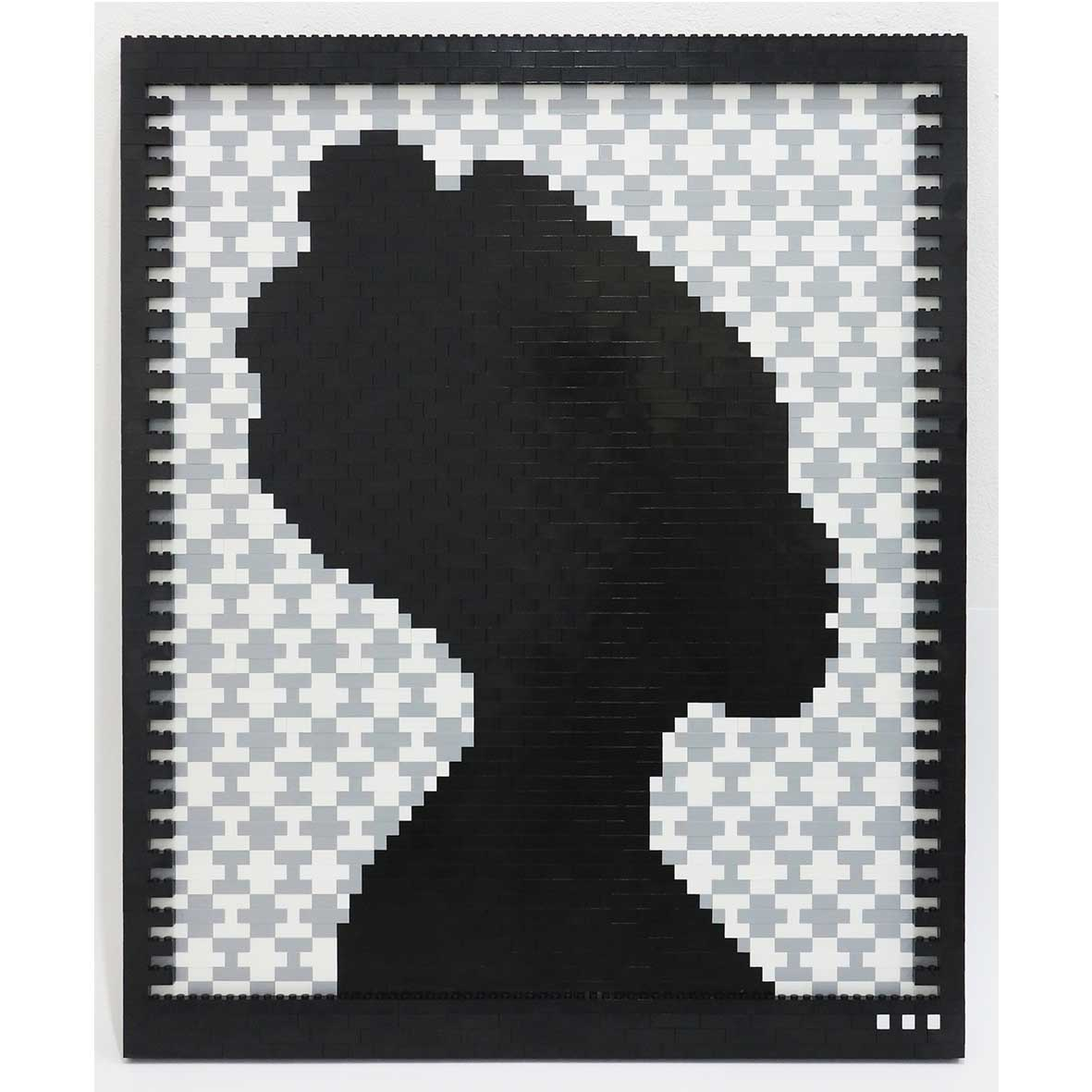 Faatimah Mohamed-Luke Reflections of a Queen II Ashanti – Grey, 2018 2089 ABS plastic building blocks adhered to Aluminium 65 x 53.5 cm