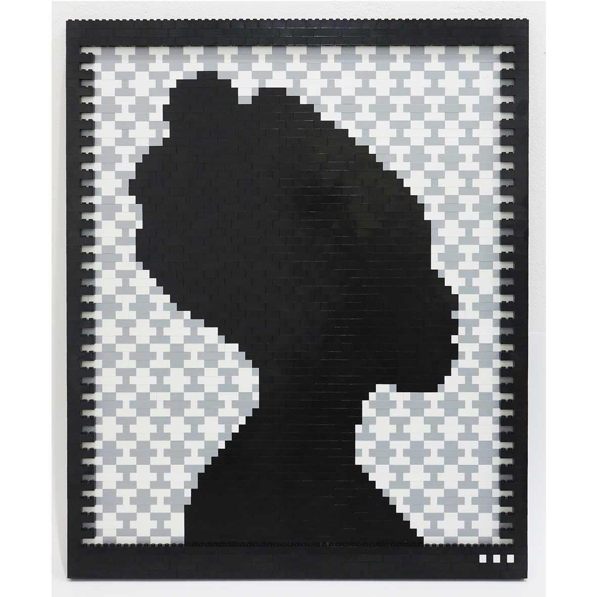 Faatimah Mohamed-Luke Reflections of a Queen II Ashanti – Grey, 2018 2089 ABS plastic building blocks adhered to Aluminium 65 x 53.5 cm