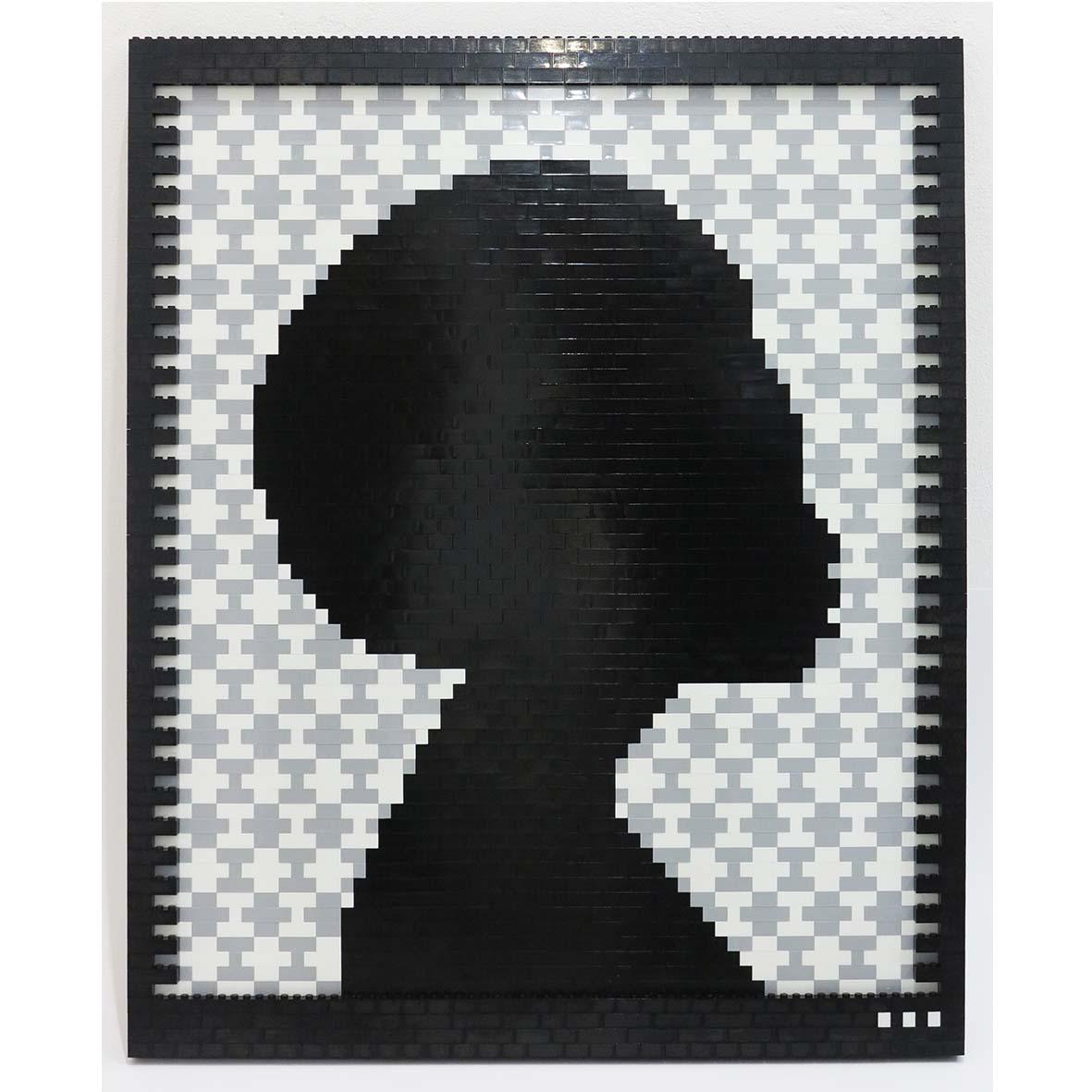 Faatimah Mohamed-Luke Reflections of a Queen II Yoruba – Grey , 2018 2107 ABS plastic building blocks adhered to Aluminium 65 x 53.5 cm
