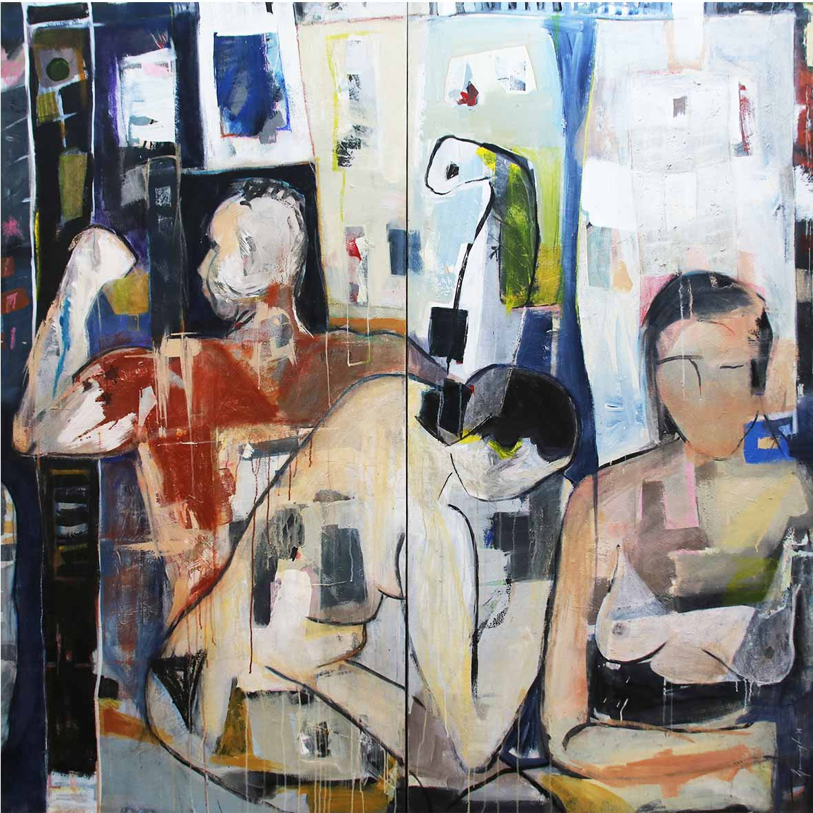 Geogia Lane Balancing Act (Diptych) 2014 Acrylic and Mixed media on Canvas 200 x 200 cm