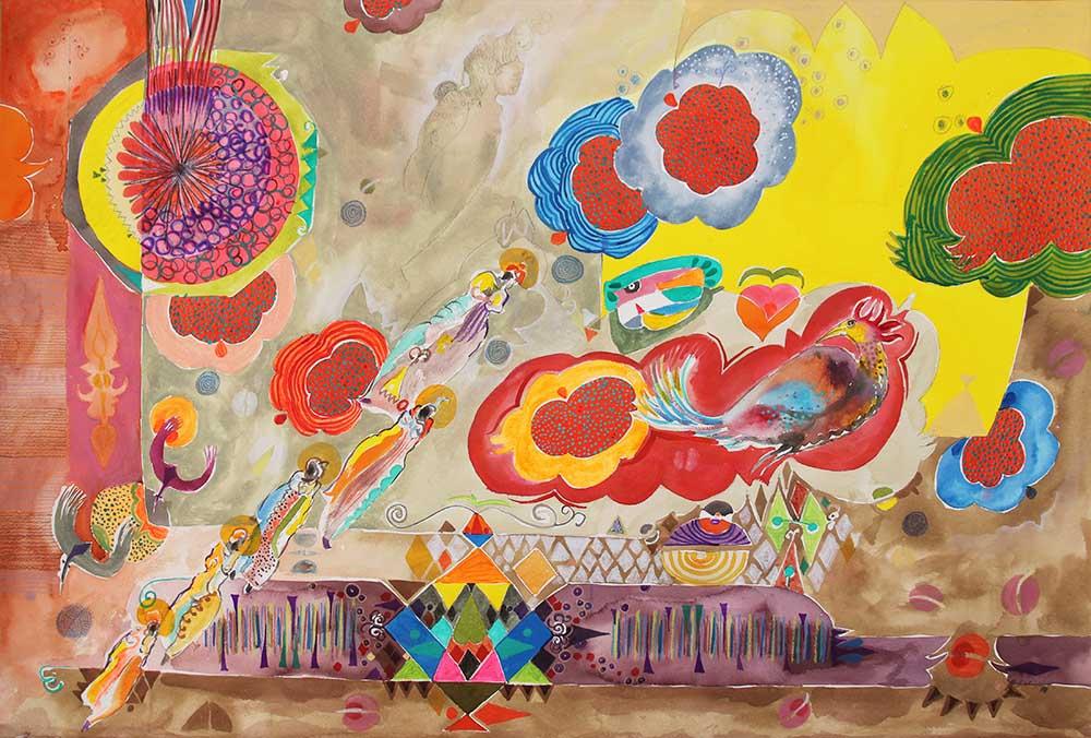 Hussein Salim Phoenix People 13 2019 Acrylic on Fabriano 100 x 69.5 cm