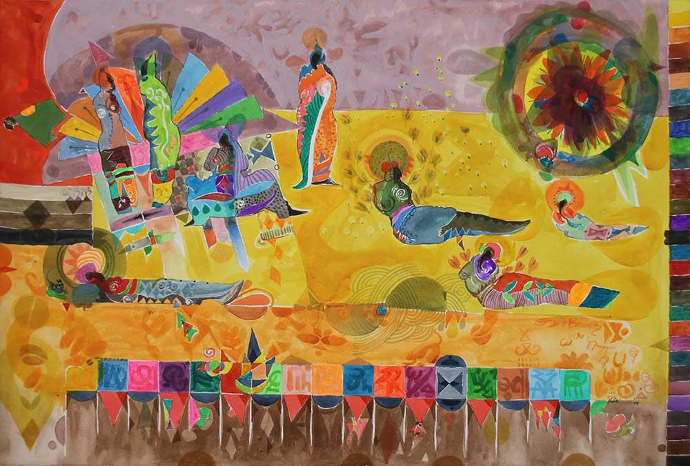 Hussein Salim Phoenix People 6 2019 Acrylic on Fabriano 100 x 69.5 cm