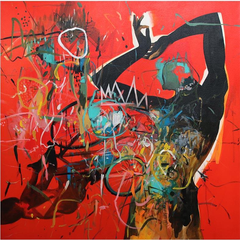 Ley Mboramwe Montage 2019 acrylic on canvas 120 x 120