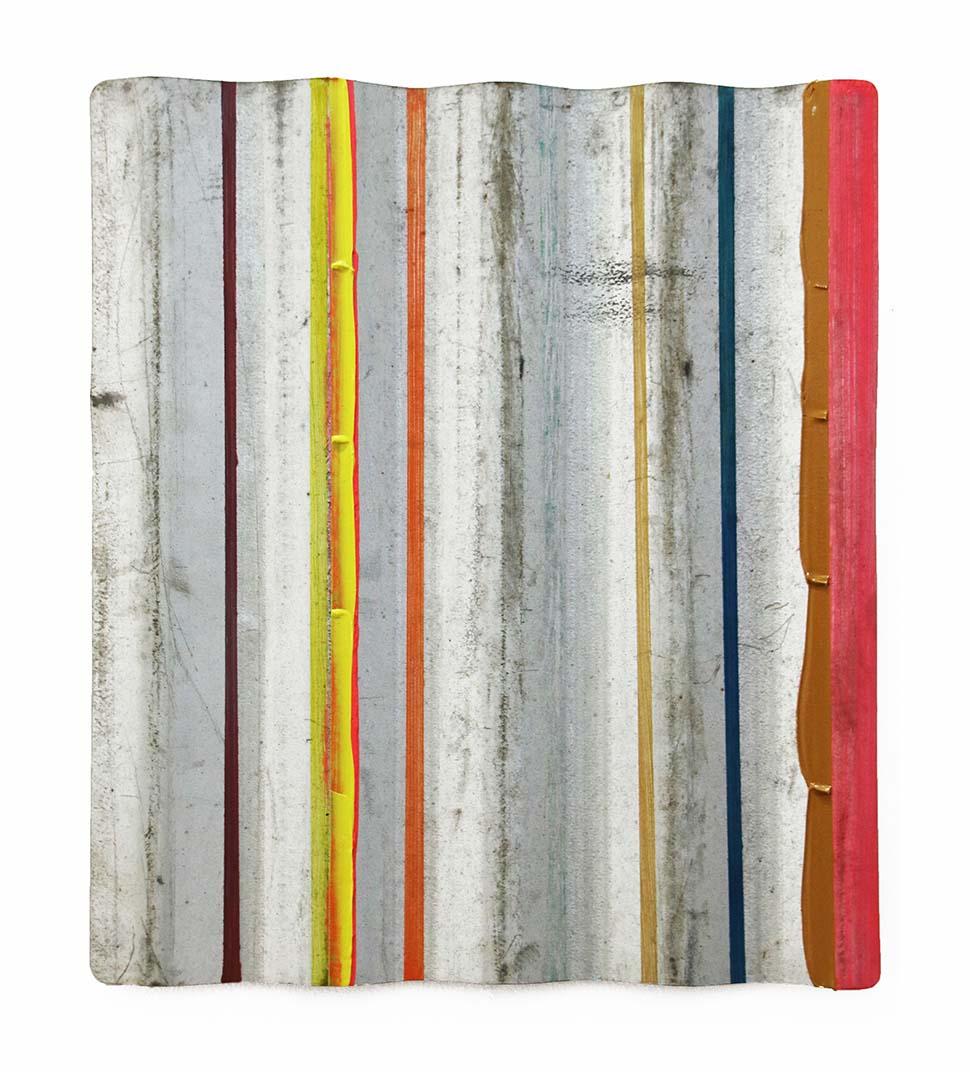 Christian F Kintz, 2019, acrylic on corrugated iron, 40 x 35 cm