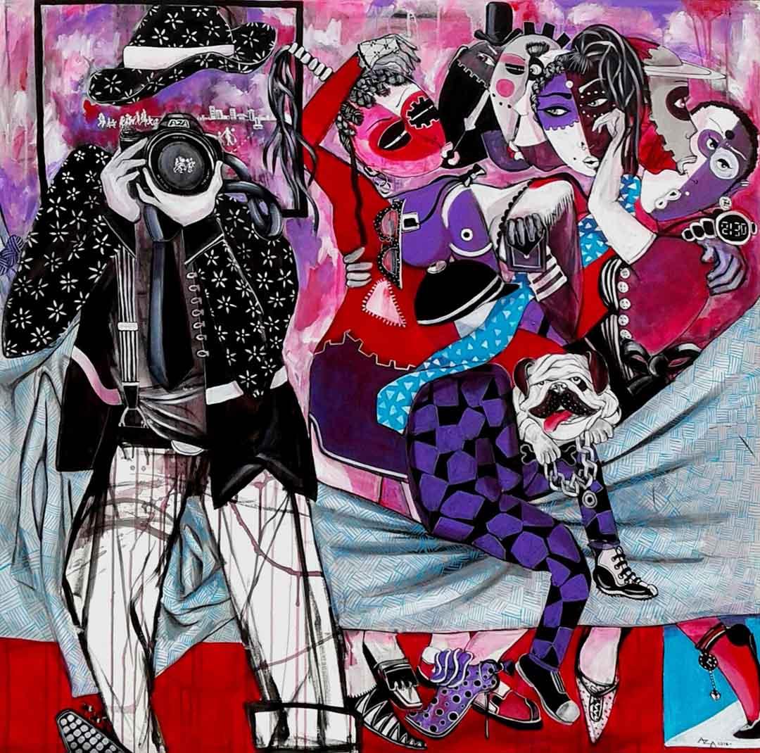 Aza Mansongi Emergence 2016 Acrylic on Cotton canvas 120 x 120 cm