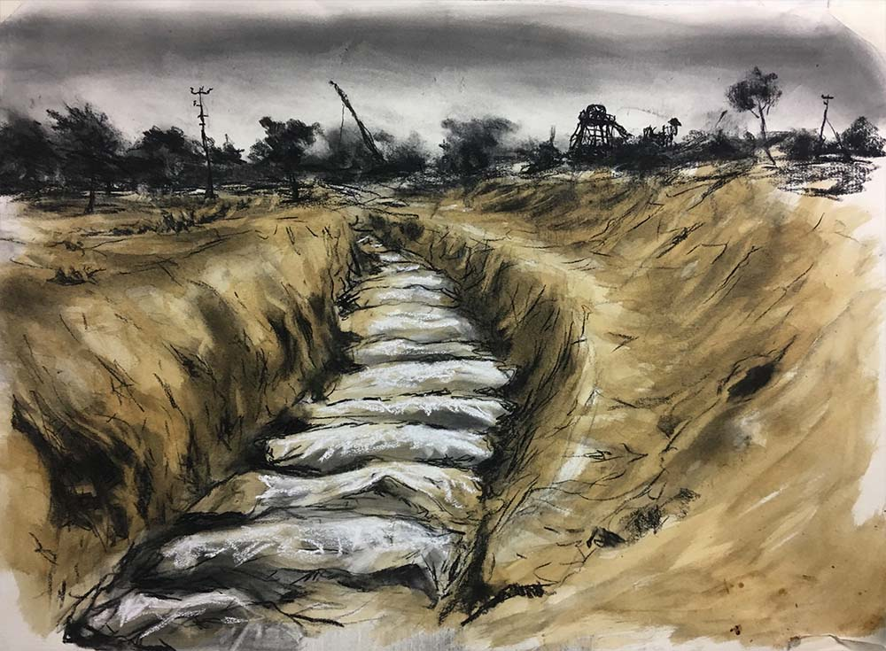 DRC Massacre 2018 charcoal and coffee on paper 78 x 108 cm