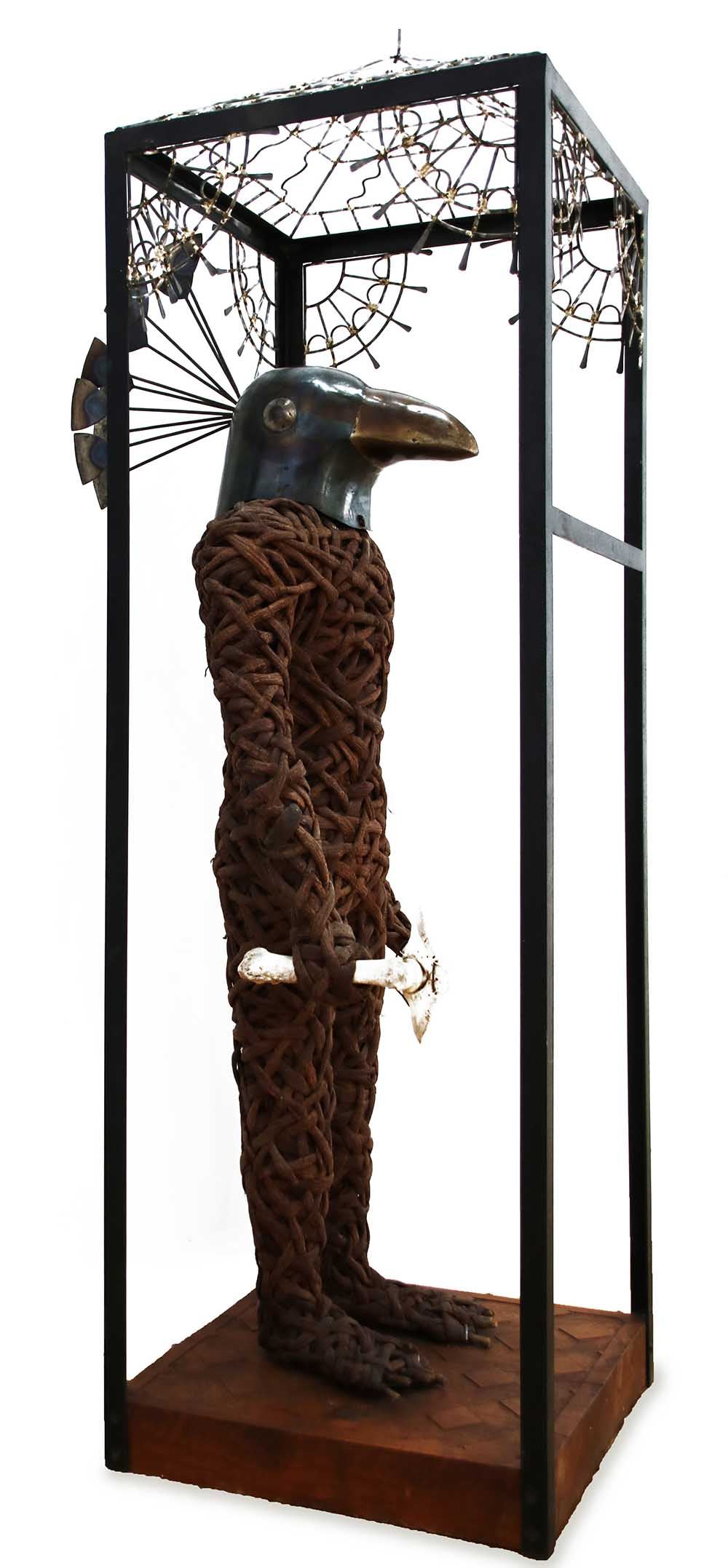 Jacques Dhont Cain 2019 Material,wattle bark,metal,bone,wood. approx- 45 x 60 x 153 cm