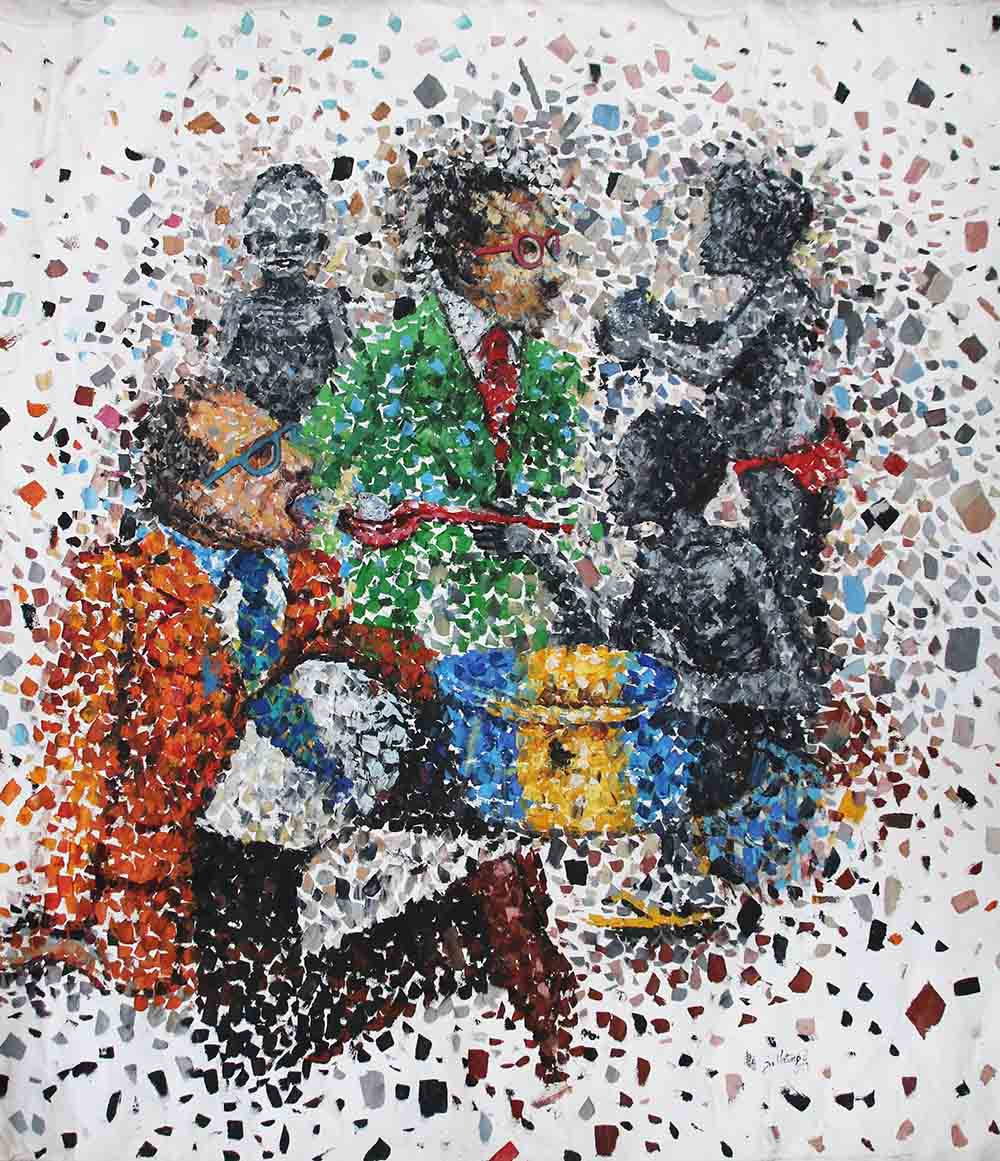 Jonathan Vatunga, 2019, mixed media on canvas, approx 150 x 117 cm