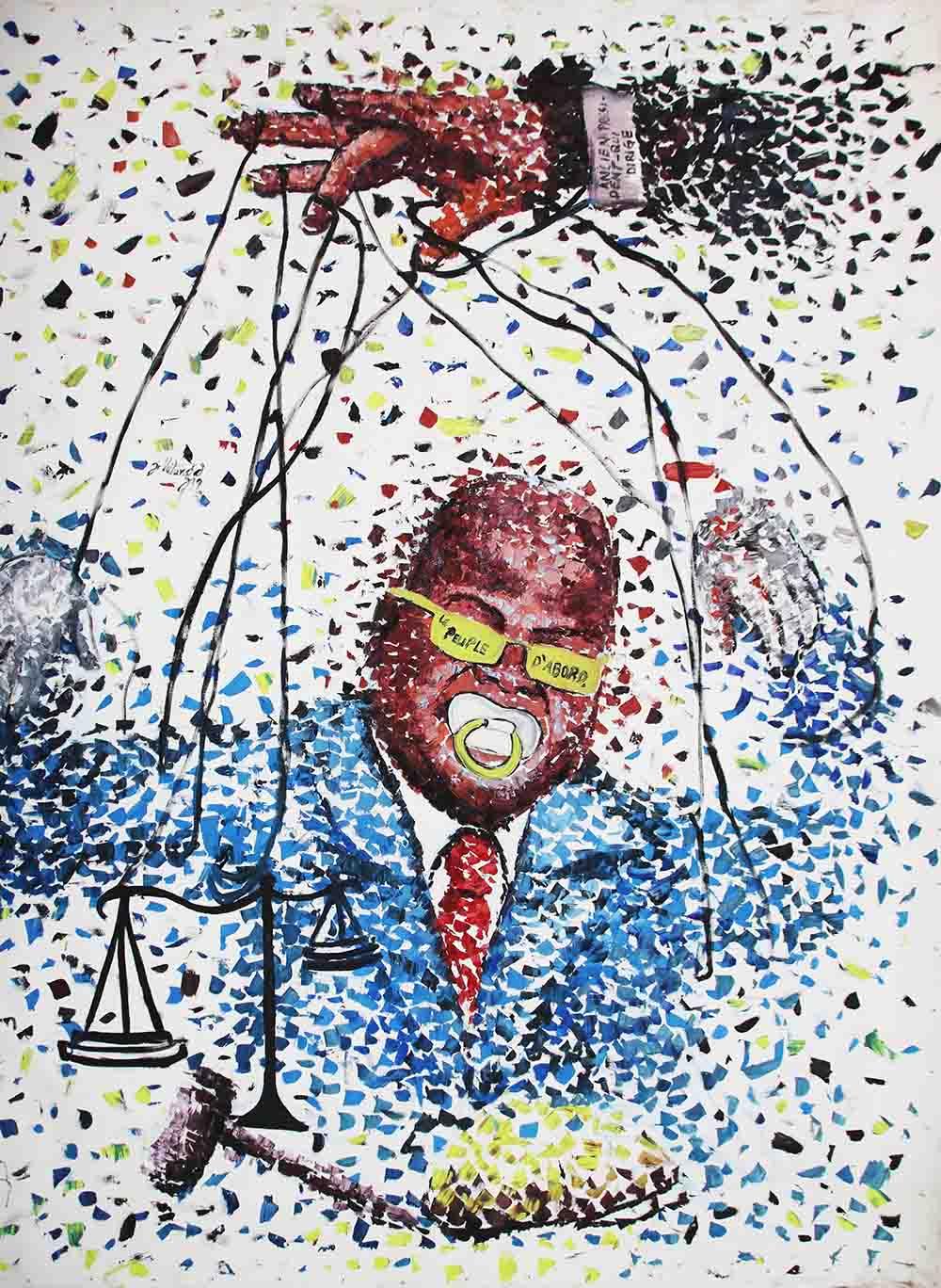 Jonathan Vatunga, 2019, mixed media on canvas, approx 150 x 148 cm