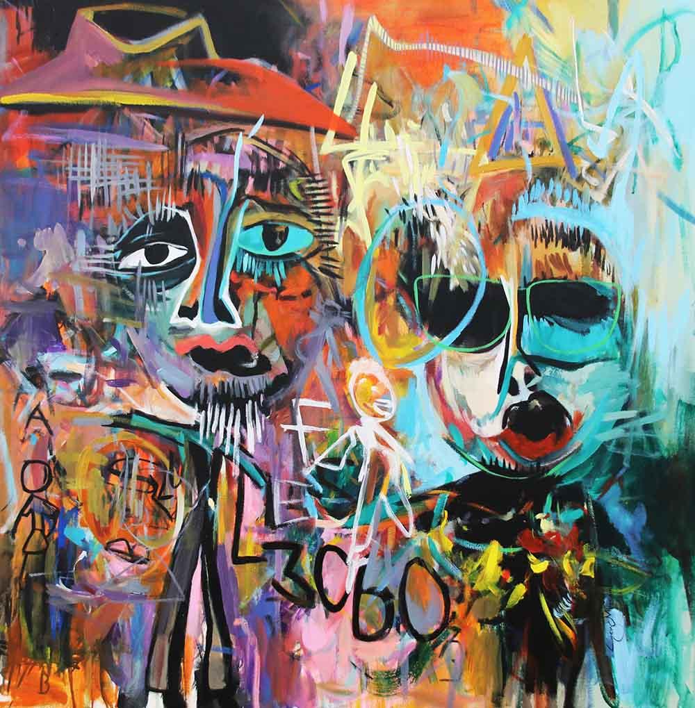 Ley Mboramwe Fungola Misu 2019 Acrilyc on canvas 100 x 100 cm