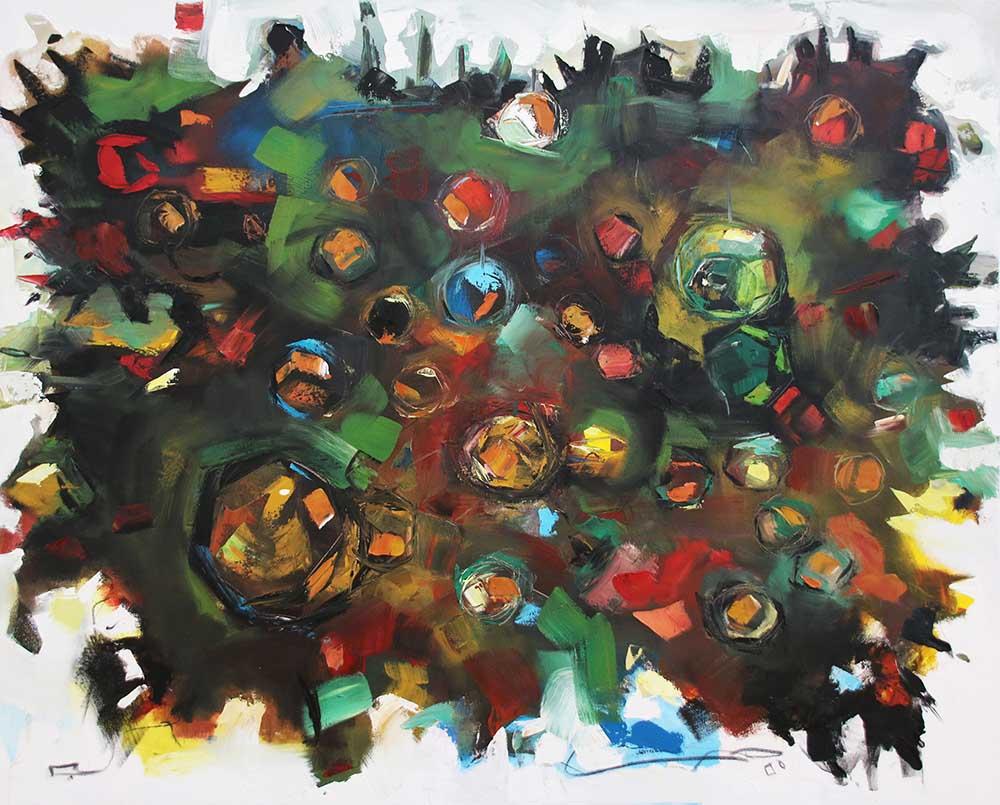 Patrick Tankama Diamonds in the dark 2019 Oil on canvas 150 x 200 cm