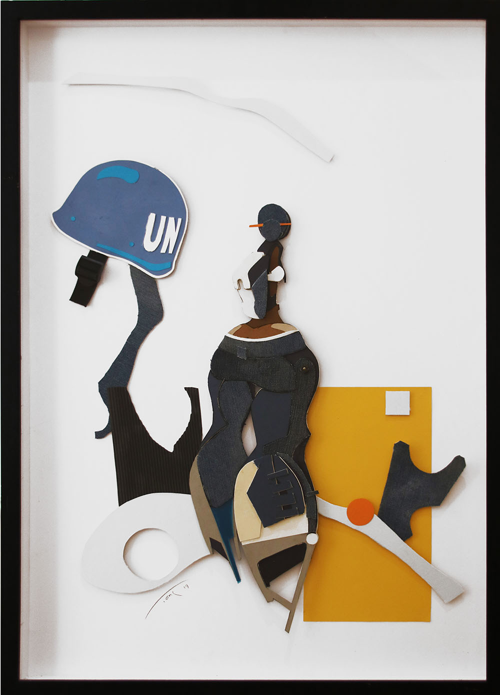 Patrick Tankama Turning your back on the UN 2019 Paper collage 84.1 x 59.4 cm