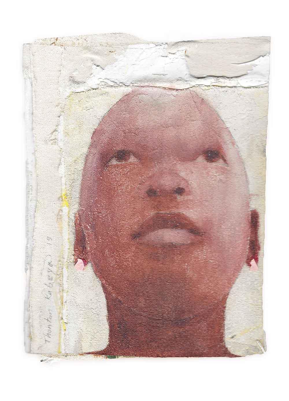 La Rumba (series) 2019 walnut powder and newspaper Ink transfer on Canvas approx. 24 x 16 cm (each)