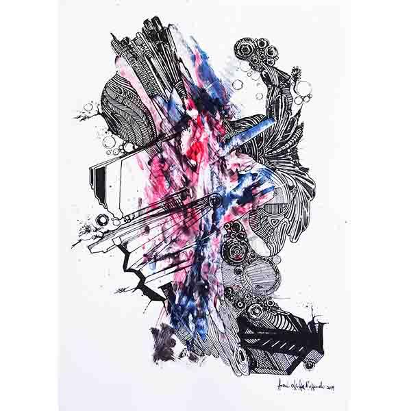 Aza Mansongi Unanimite 2019 Acrylic on canvas 100 x 100 cm