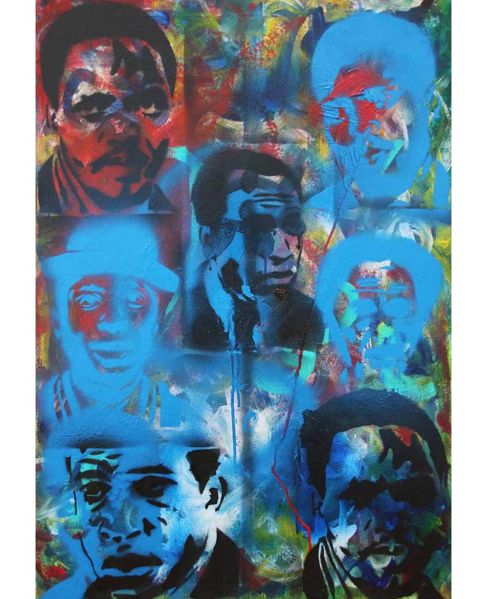 Gulwa Lindisipho Tribute to Biko 2019 mixed media on canvas 60 x 84 cm