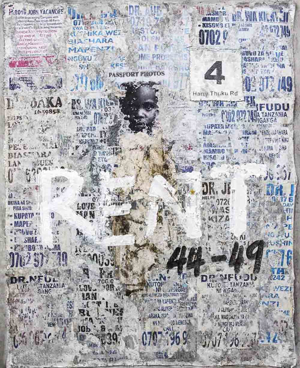 Onyis Martin Talking wall 4 rent 2019 Mixed media on canvas 115 x 145 cm