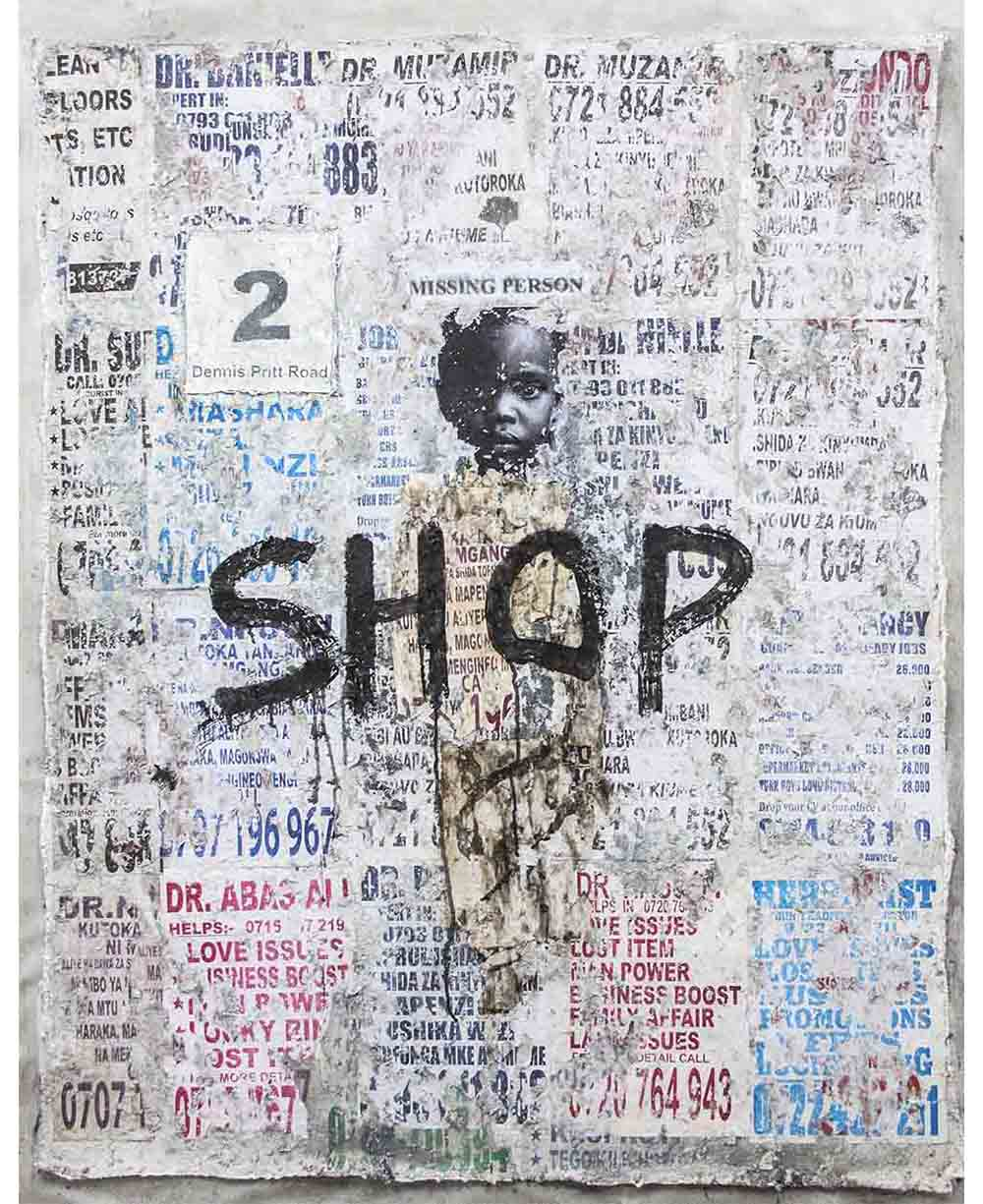 Onyis Martin Talking walls 2 shop 2019 Mixed media on canvas 115 x 145 cm