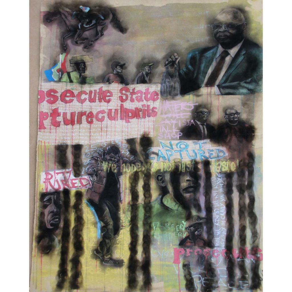 Ofentse Seshabela Prosecute State Capture Culprits 2019 Mixed media 127 x 90 cm