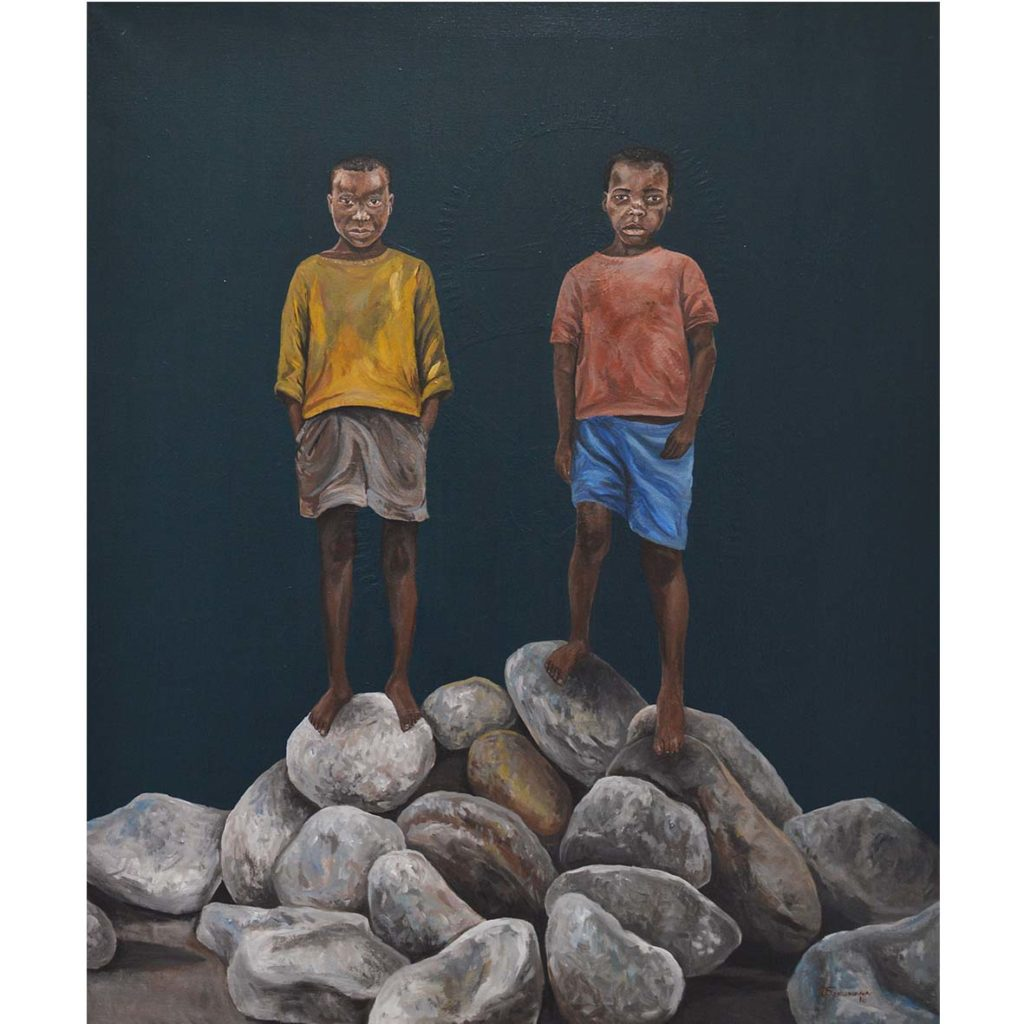 Qhama Maswana Friends 2018 Acrylic on canvas 90.2 x 70