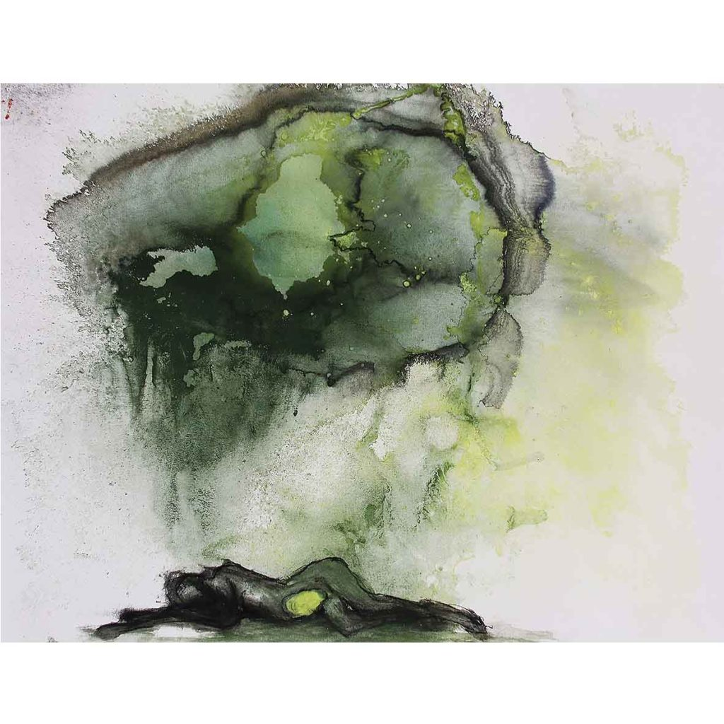 Sue Greeff inner bloom 2019 Ink, Pigment & charcoal on Paper 50 x 64.5 cm