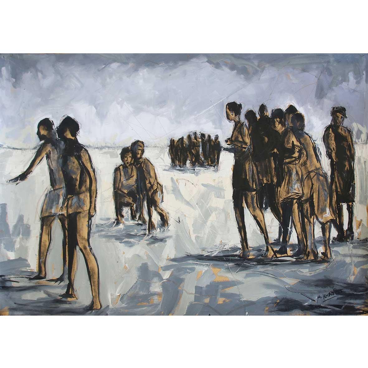Asanda Kupa Life line Oil on paper 90 x 140 cm,